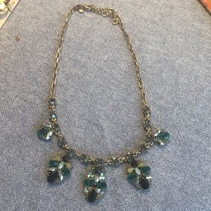 J crew statement necklace blue and green